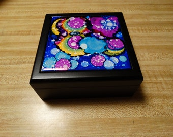 Handmade Alcohol Ink Tile Box