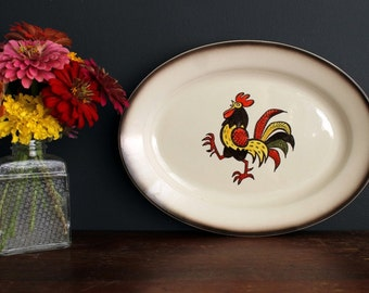 Vintage Metlox Poppytrail Pottery Red Rooster Oval Serving Platter Hand Painted China