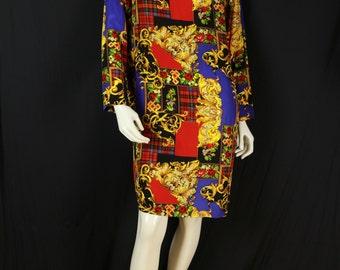 Silk dress Baroque print shift dress Preppy clothing Long sleeve midi dress Women's vintage 90s colorfull dress Novelty multicolor dress S M