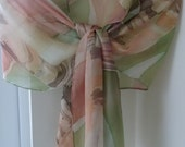Razorshells and Seaweed Strands Long Silk Scarf Original Hand Painted in soft advocado, shell pink, nutmeg brown Boho