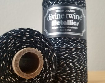 Divine Twine Metallics - 240 yard spool - Divine Twine Black Diamond metallic twine - black and silver bakers twine