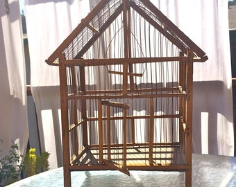 Vintage French Hand Made Birdcage, Birdcage, Wood, Wire, Decorative, Rustic