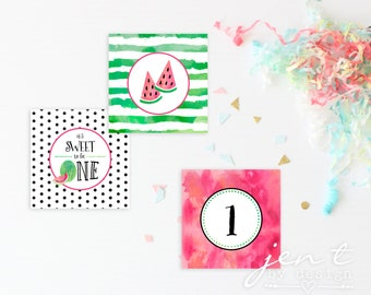 Watercolor First Birthday Watermelon Cupcake Toppers