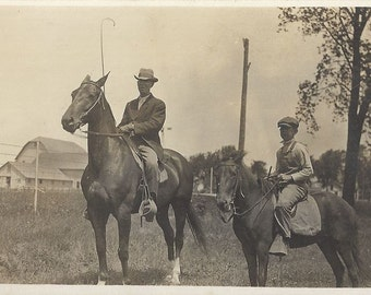Father and Son - Antique 1910s Equestrians Silver Gelatin Print Real Photo Postcard
