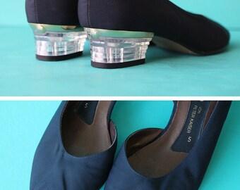 Vintage black satin textile leather low clear lucite heel open toe women shoes 7 37