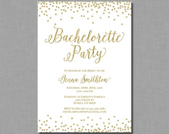 Gold White Bachelorette Invitation glitter Amelia BR54 Digital or Printed