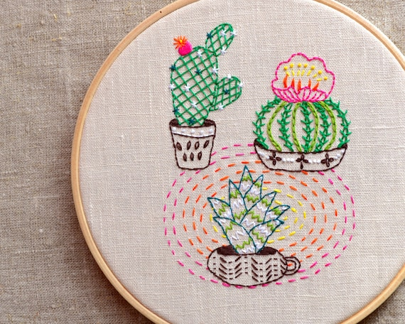 Cactus embroidery pattern hand