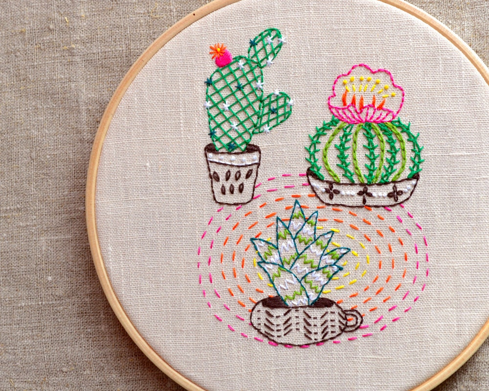 Modern Hand Embroidery Patterns Cactus Embroidery Plant
