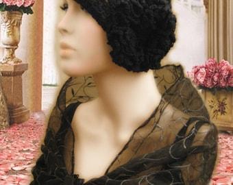 Vintage Style Black Crochet Cloche Hat Beanie,Flapper Hat,Gatsby Hat