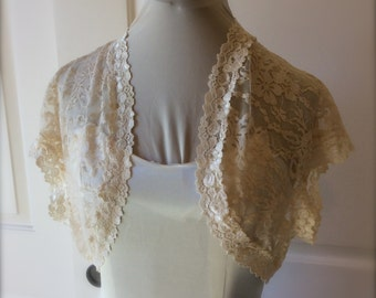 Champagne Lace Bridal/prom/evening Shrug/bolero/jacket from stretch lace Style 207 Size small to plus sizes.