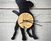 Puppy Clock   Vinyl Record • Upcycled Recycled Repurposed • Dog Breed • Silhouette • Shadow Art