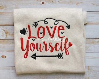 Girl's Valentine's day shirt- Love yourself shirt