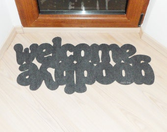Floor mat: Welcome / Goodbye. Double message at your entry. Home decor