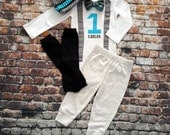 Baby Boy First Birthday Outfit - Little Man, Birthday Bow Tie Bodysuit, Leg warmers, Hat, Pants, Cake smash, 1st Birthday, turquoise Black