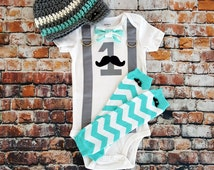 Mustache Baby Boy First Birthday Outfit - Little Man, Birthday Bow Tie Bodysuit, Button Leg warmers, Hat, Cake smash, 1st Birthday, Chevron