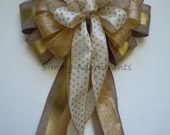 Ivory Gold Burlap Christmas Bow Elegant Ivory Gold Christmas Tree Topper Bow Ivory Gold Christmas Teardrop Swag Bow Winter Holidays Gift Bow