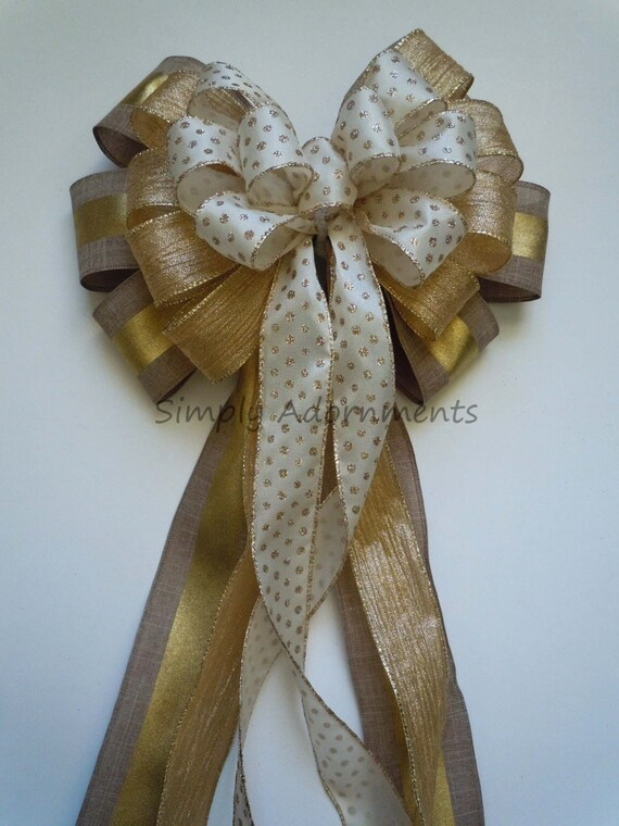 Ivory Gold Burlap Christmas Bow Elegant Ivory Gold Christmas Tree Topper Bow Ivory Gold Christmas Teardrop Swag Bow Winter Holidays Gift Bow