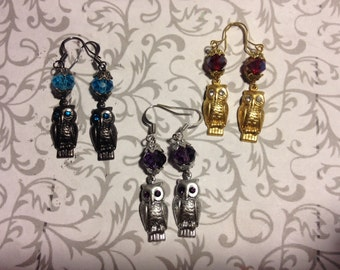 Crystal Owl Earrings // Gold, Silver, Gunmetal