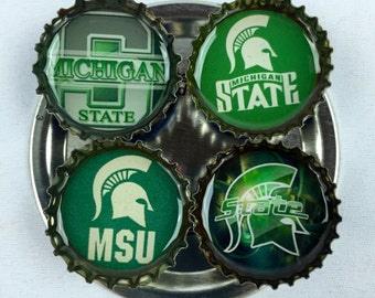 MSU Michigan State Spartans - Set of 4 Bottle Cap Refrigerator Magnets - Set #3