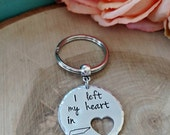 I left my heart in Tennessee hand stamped key chain, Tennessee gift long distance relationship military spouse long distance boyfriend gift