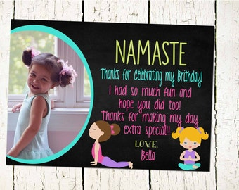 PERSONALIZED PHOTO Yoga Thank You- yoga Party-Yoga Thank You