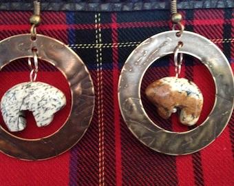 Bear in Brass earrings
