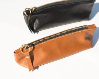 Zipper Pen Case - Lambskin, buttery soft, zippered pouch, zippered case