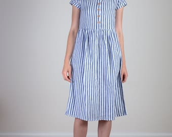 Blue striped linen midi day dress