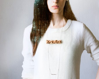 Geometric Wooden chain necklace, nude beige faceted minimalist necklace, wood and chains jewelry, urban style casual fashion jewelry