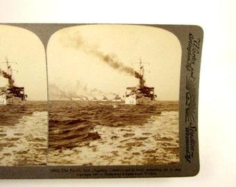 Pacific Fleet Battleship Connecticut Stereoview Card United States Navy Ships USN Vintage 1907 Photo Paper Ephemera Underwood Stereograph