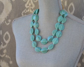 Chunky Beaded Turquoise Statement Necklace - Double Strand Mint Bead Necklace - Mint Turquoise Bridesmaid Necklace - Seafoam Necklace