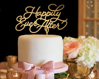 Wedding Cake Topper - Happily Ever After Wedding Cake Topper - Gold Cake Topper
