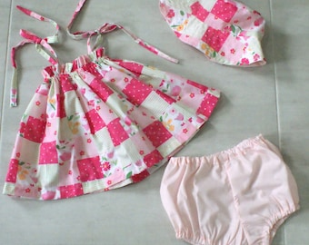 Size 1 cotton dress three piece set with matching hat and pants