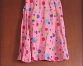 XS S Extra Small Vintage Pink Polka Dot Print Handmade Elastic Waist Clown Circus Hippie Boho Festival Skirt