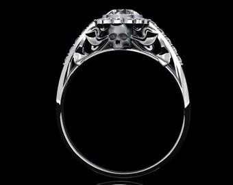 Death Forest Skull Ring with Half Carat Round Cut Diamond Center Art Nouveau