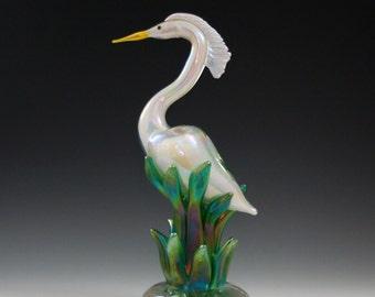 Glass Egret in Reeds