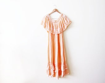 Off The Shoulder Dress / 70s Bohemian Sundress / Peach Gauze Cotton Hippie Dress
