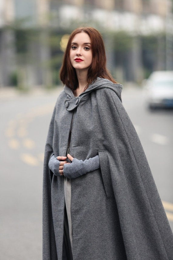 Image result for grey long wool cape