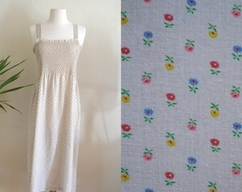 1970s Sleeveless Dress, Beige with Micro Floral Print, Stretchy Upper