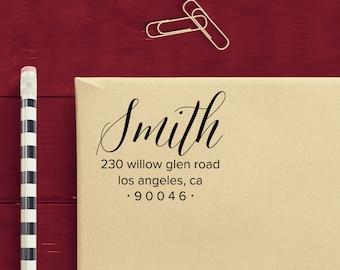 Custom Address Stamp - Ribbon Script - Personalized Return Address Stamp - Self Inking
