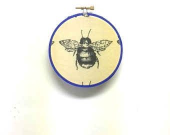 BEE YOURSELF / Upcycled Fabric Wall Hanging / Cubicle Office Art