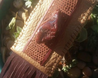 Red Tiger Eye Leather Medicine Bag