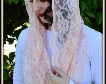 Catholic Veil  ~Orthodox Christian Headcovering -EV1SP -The Infinity Scarf Mantilla Veil Original, in Soft Pink