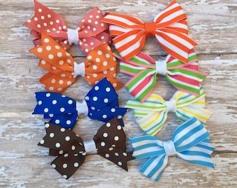 "GRAB BAG - Four 3"" hair bows 50% off, sale bows, polka dots & stripes, sale, girls hair bows, girls bows, toddler bows, boutique bows"