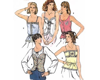 "1979 Camisole Tops, Lined, Princess Seaming, Eyelet Laced, Square Neck, Drawstring Waist Scoop Neck Tank Quick Butterick 6143-Bust 34"" UnCut"