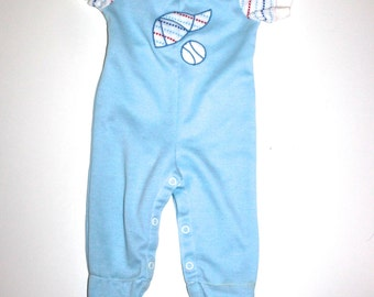 HIP BABY BOY - Baseball Jumpsuit - Retro Baby Clothes - 3 to 6 Months