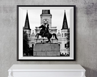 Jackson Square travel black and white statue St Louis Cathedral church fine art photography New Orleans French Quarter Andrew gifts under 50