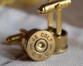 Bullet cufflinks Colt 45 gold tone cuff links camo wedding police handgun groomsmen wedding cuff links men