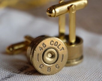 Bullet cufflinks Colt 45 gold tone cuff links camo wedding police handgun groomsmen wedding cuff links men