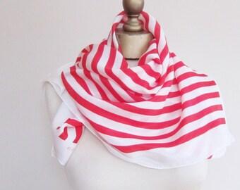 SILK scarf, red white stripes, striped silk scarf, square silk scarf, hair scarf, classic neck scarf